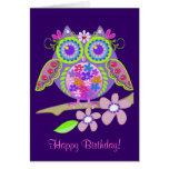 Cartão de aniversário legal da coruja de flower po