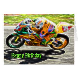 Cartão de aniversário legal da motocicleta da