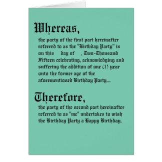 Cartão de aniversário legal do contrato