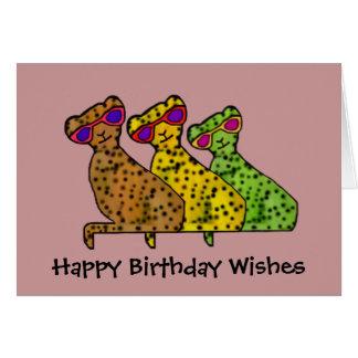 Cartão de aniversário legal dos gatos da chita