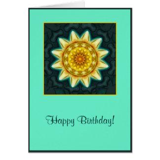Cartão de aniversário macio da mandala da flor