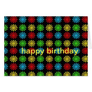 Cartão de aniversário - margarida retro de RGBY