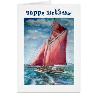 Cartão de aniversário navegado vermelho do iate