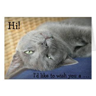Cartão de aniversário: O gato cinzento deseja um