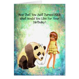 Cartão de aniversário para 4 anos. Sua da idade