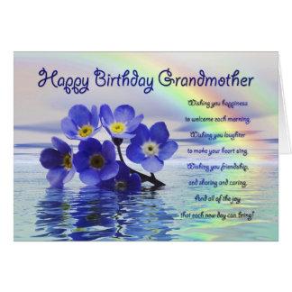 Cartão de aniversário para a avó com miosótis