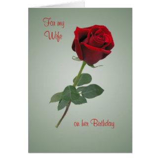 Cartão de aniversário para a esposa com rosa do ve