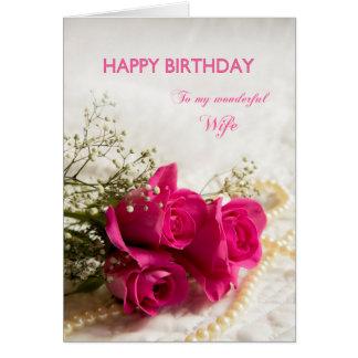 Cartão de aniversário para a esposa com rosas
