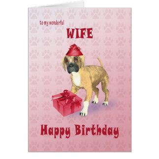 Cartão de aniversário para a esposa com um filhote