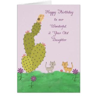 Cartão de aniversário para a filha da criança de 2