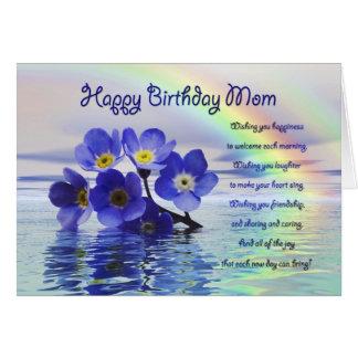 Cartão de aniversário para a mamã com miosótis