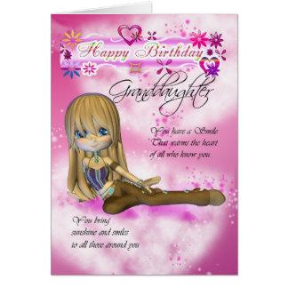 Cartão de aniversário para a neta, torta de