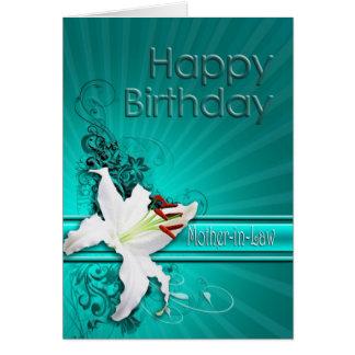 Cartão de aniversário para a sogra, com um lírio