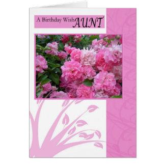 Cartão de aniversário para a tia, rosas do rosa