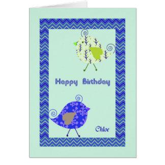 Cartão de aniversário para Chloe, pássaros do