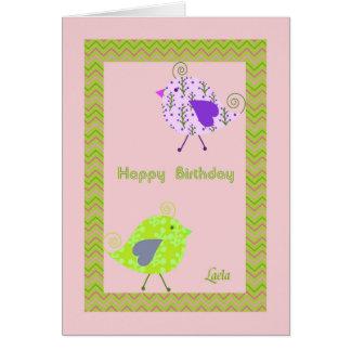 Cartão de aniversário para Laela com pássaros do