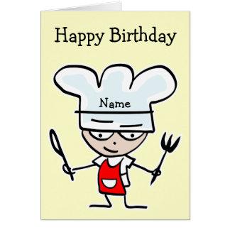 Cartão de aniversário para o cozinheiro chefe ou o