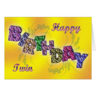 Cartão de aniversário para o gêmeo com texto flora