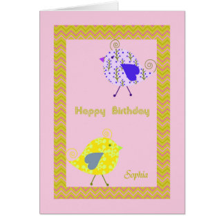 Cartão de aniversário para Sophia com pássaros do