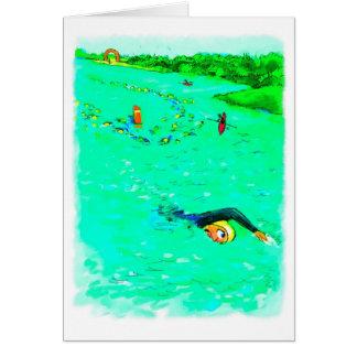 Cartão de aniversário para Triathlete - nadando