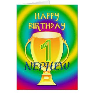 Cartão de aniversário para um sobrinho do número 1