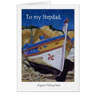Cartão de aniversário para um Stepdad - barco de