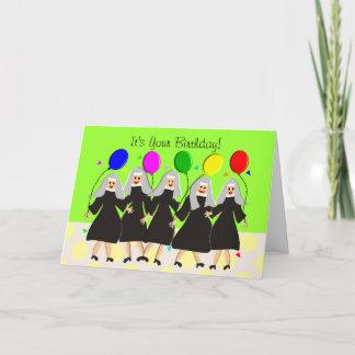 Cartão de aniversário parvo das freiras católicas