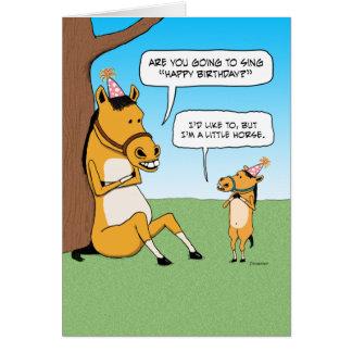 Cartão de aniversário pequeno engraçado do cavalo