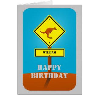 Cartão de aniversário personalizado canguru