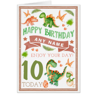 Cartão de aniversário personalizado dinossauro do