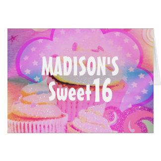 Cartão de aniversário personalizado do doce 16