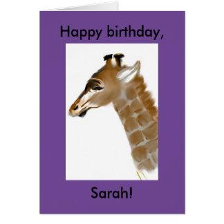 cartão de aniversário personalizado do girafa