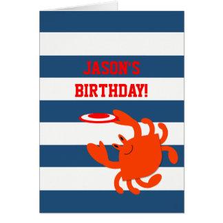 Cartão de aniversário personalizado do marinho