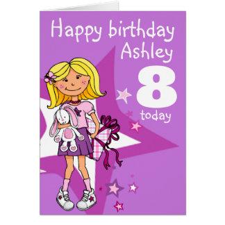 Cartão de aniversário personalizado menina da