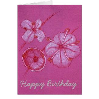 Cartão de aniversário pintado bonito das flores
