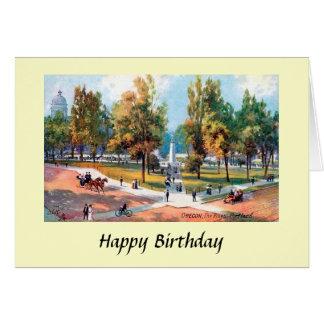 Cartão de aniversário - Portland, Oregon - a plaza
