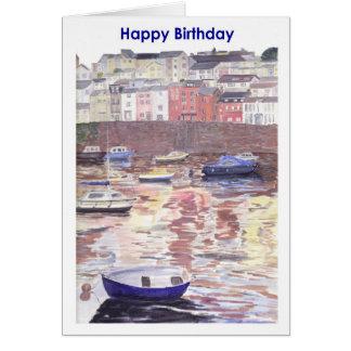Cartão de aniversário, porto Devon Reino Unido de
