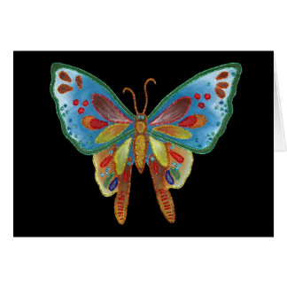 Cartão de aniversário preto da borboleta