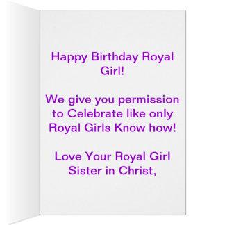 Cartão de aniversário real da menina