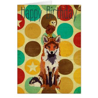 Cartão de aniversário retro do Fox & da coruja