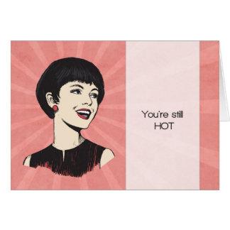Cartão de aniversário retro engraçado com senhora