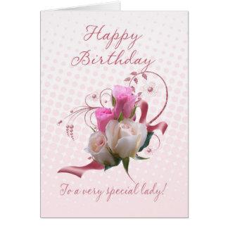 Cartão de aniversário - rosas cor-de-rosa - ao
