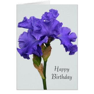 Cartão de aniversário roxo da íris