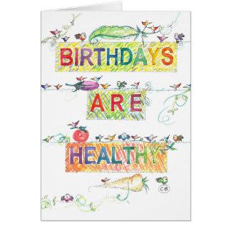 """Cartão de aniversário """"saudável"""""""