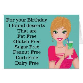 Cartão de aniversário sem glúten engraçado
