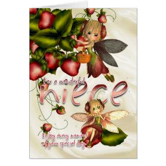 Cartão de aniversário - sobrinha - fadas da torta