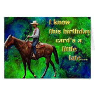 Cartão de aniversário tardivo de Pony Express
