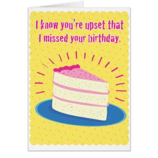Cartão de aniversário tardivo engraçado
