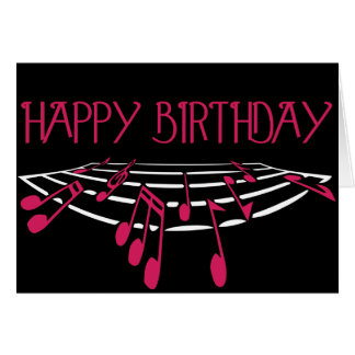 Cartão de aniversário temático da música - rosa