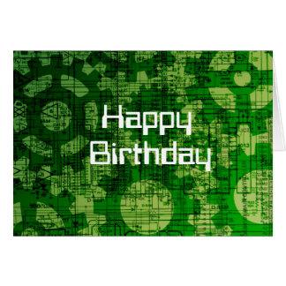 Cartão de aniversário temático da tecnologia
